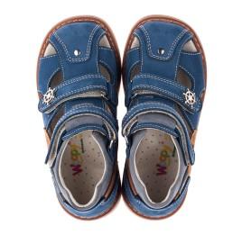 Детские закрытые ортопедические босоножки Woopy Orthopedic синие, коричневые для мальчиков натуральный нубук размер 22-22 (3577) Фото 5