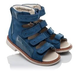 Детские ортопедичні босоніжки (з високим берцем) Woopy Orthopedic синие для мальчиков натуральная кожа размер 21-35 (3581) Фото 1
