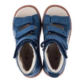 Детские ортопедические босоножки (с высоким берцем) Woopy Orthopedic синие для мальчиков натуральная кожа размер 21-35 (3581) Фото 5