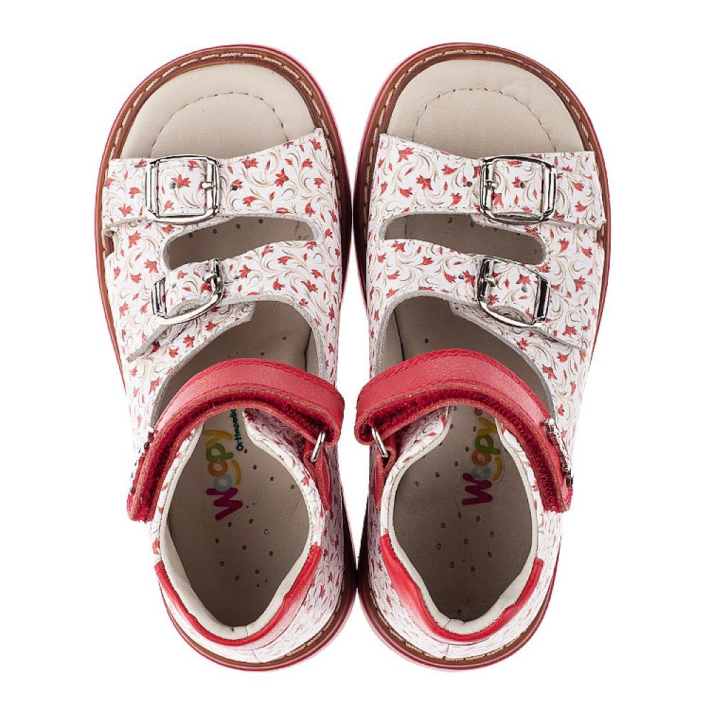 Детские ортопедические босоножки Woopy Orthopedic белые,красные для девочек натуральная кожа размер 26-30 (3582) Фото 4