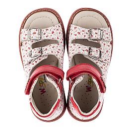 Детские ортопедические босоножки Woopy Orthopedic белые,красные для девочек натуральная кожа размер - (3582) Фото 4
