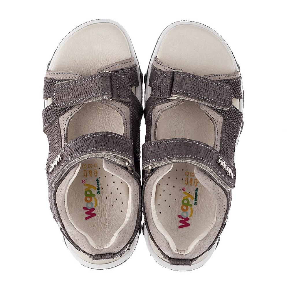 Детские босоножки Woopy Orthopedic серые для мальчиков натуральная кожа размер 26-36 (3583) Фото 5