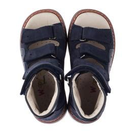 Детские ортопедические босоножки (с высоким берцем) Woopy Orthopedic темно-синие для мальчиков натуральная кожа и нубук размер 26-36 (3584) Фото 5