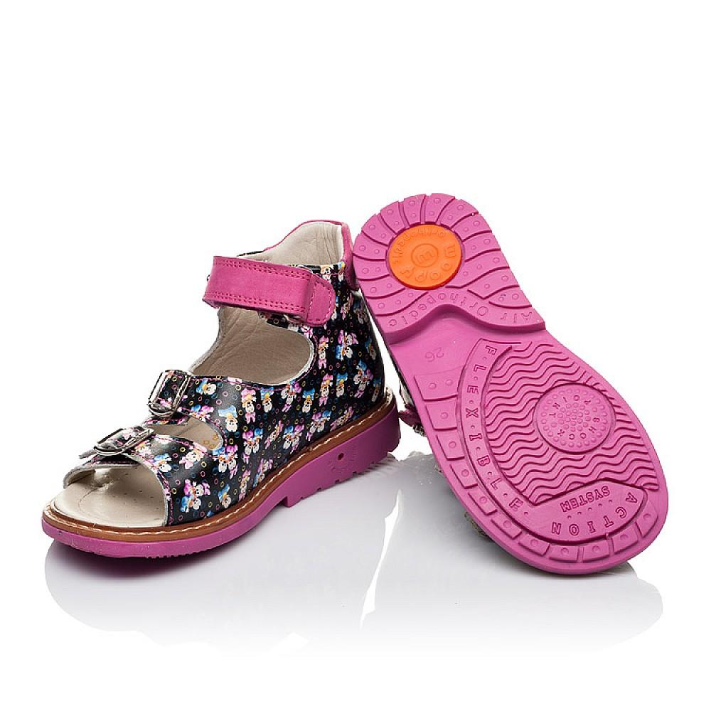 Детские босоножки Woopy Orthopedic разноцветные, черные для девочек натуральная кожа размер 21-30 (3586) Фото 2