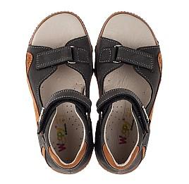 Детские босоножки Woopy Orthopedic серые, коричневые для мальчиков натуральный нубук размер 24-26 (3594) Фото 5