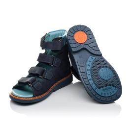 Детские ортопедичні босоніжки (з високим берцем) Woopy Orthopedic темно-синие, голубые для мальчиков натуральный нубук размер 26-26 (3608) Фото 2