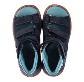 Детские ортопедичні босоніжки (з високим берцем) Woopy Orthopedic темно-синие, голубые для мальчиков натуральный нубук размер 26-26 (3608) Фото 5