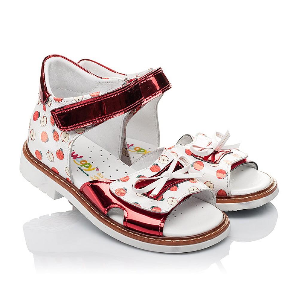 Детские ортопедические босоножки Woopy Orthopedic белые,красные для девочек натуральная кожа / лаковая кожа размер 23-30 (3610) Фото 1