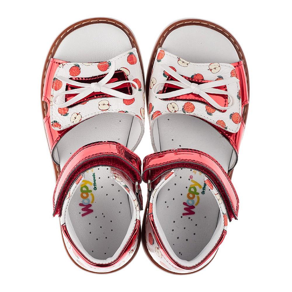 Детские ортопедические босоножки Woopy Orthopedic белые,красные для девочек натуральная кожа / лаковая кожа размер 23-30 (3610) Фото 5