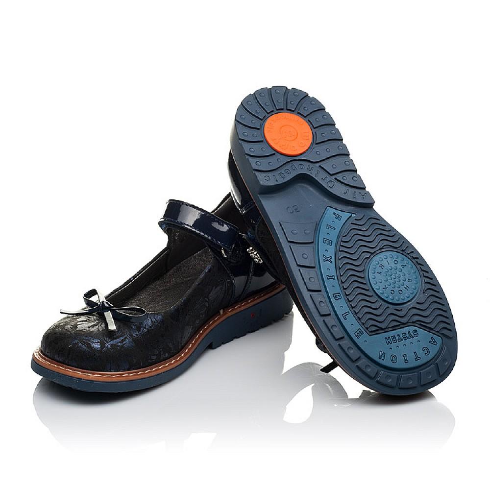 Детские туфли ортопедические Woopy Orthopedic темно-синие для девочек натуральные нубук и лаковая кожа размер 29-36 (3612) Фото 2