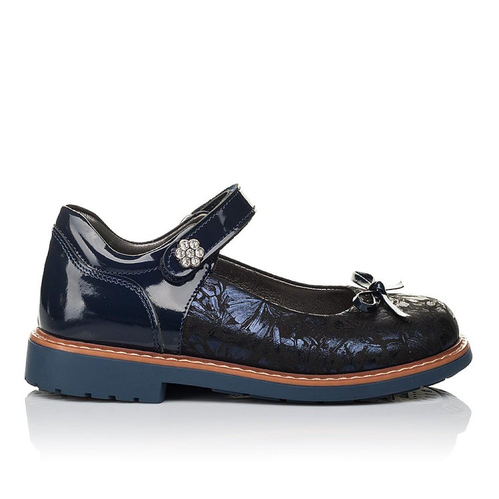 Детские туфли ортопедические Woopy Orthopedic темно-синие для девочек натуральные нубук и лаковая кожа размер 29-36 (3612) Фото 4
