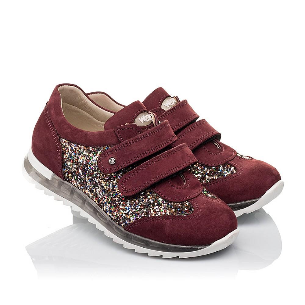 Детские кроссовки Woopy Orthopedic бордовые для девочек натуральный нубук, современный искусственный материал размер 28-34 (3615) Фото 1