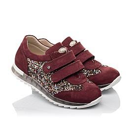 Детские кроссовки Woopy Orthopedic бордовые для девочек натуральный нубук, современный искусственный материал размер 33-33 (3615) Фото 1