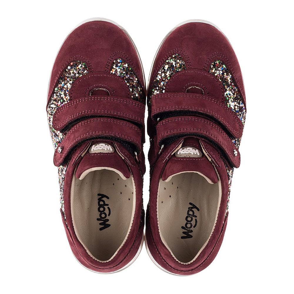 Детские кроссовки Woopy Orthopedic бордовые для девочек натуральный нубук, современный искусственный материал размер 28-34 (3615) Фото 5
