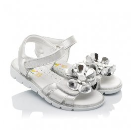 Детские босоножки Woopy Orthopedic серебряные для девочек натуральная кожа размер 28-30 (3624) Фото 1