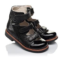 Детские ортопедические туфли (с высоким берцем) Woopy Orthopedic черные для девочек натуральный нубук с лазерной обработкой размер 30-35 (3630) Фото 1