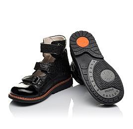 Детские ортопедические туфли (с высоким берцем) Woopy Orthopedic черные для девочек натуральный нубук с лазерной обработкой размер 30-35 (3630) Фото 2