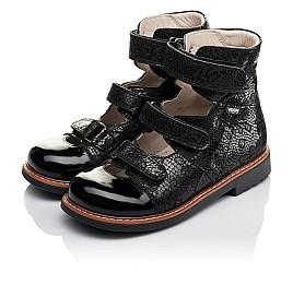 Детские ортопедические туфли (с высоким берцем) Woopy Orthopedic черные для девочек натуральный нубук с лазерной обработкой размер 30-35 (3630) Фото 3