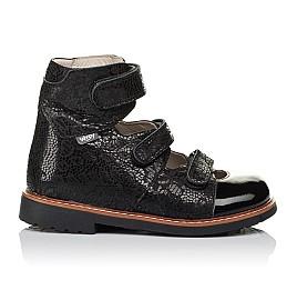 Детские ортопедические туфли (с высоким берцем) Woopy Orthopedic черные для девочек натуральный нубук с лазерной обработкой размер 30-35 (3630) Фото 4