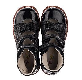 Детские ортопедические туфли (с высоким берцем) Woopy Orthopedic черные для девочек натуральный нубук с лазерной обработкой размер 30-35 (3630) Фото 5