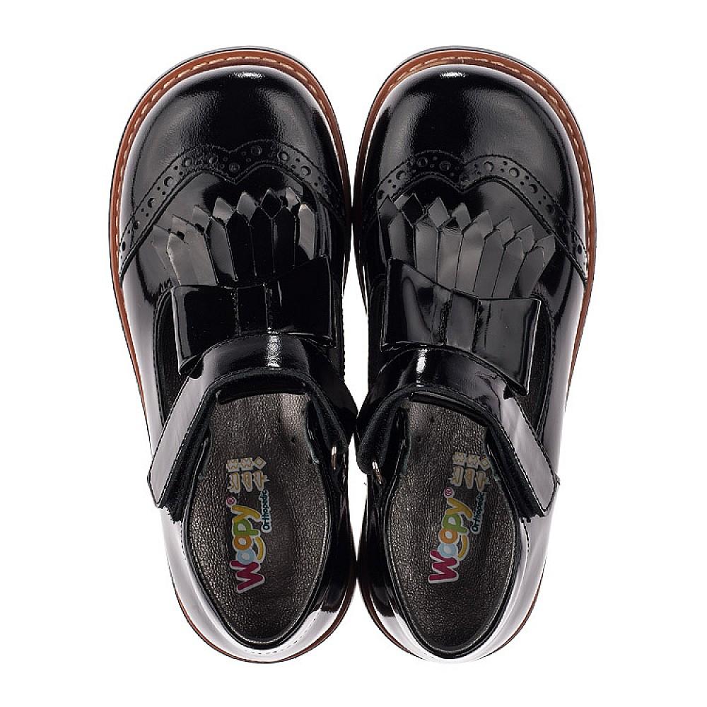 Детские туфли Woopy Orthopedic черные для девочек натуральная лаковая кожа размер 29-34 (3632) Фото 5