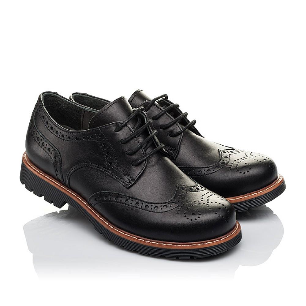 Детские туфлии (шнурок-резинка) Woopy Orthopedic черные для мальчиков натуральная кожа размер 32-37 (3633) Фото 1