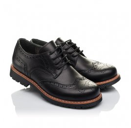 Детские туфлии (шнурок-резинка) Woopy Orthopedic черные для мальчиков натуральная кожа размер - (3633) Фото 1