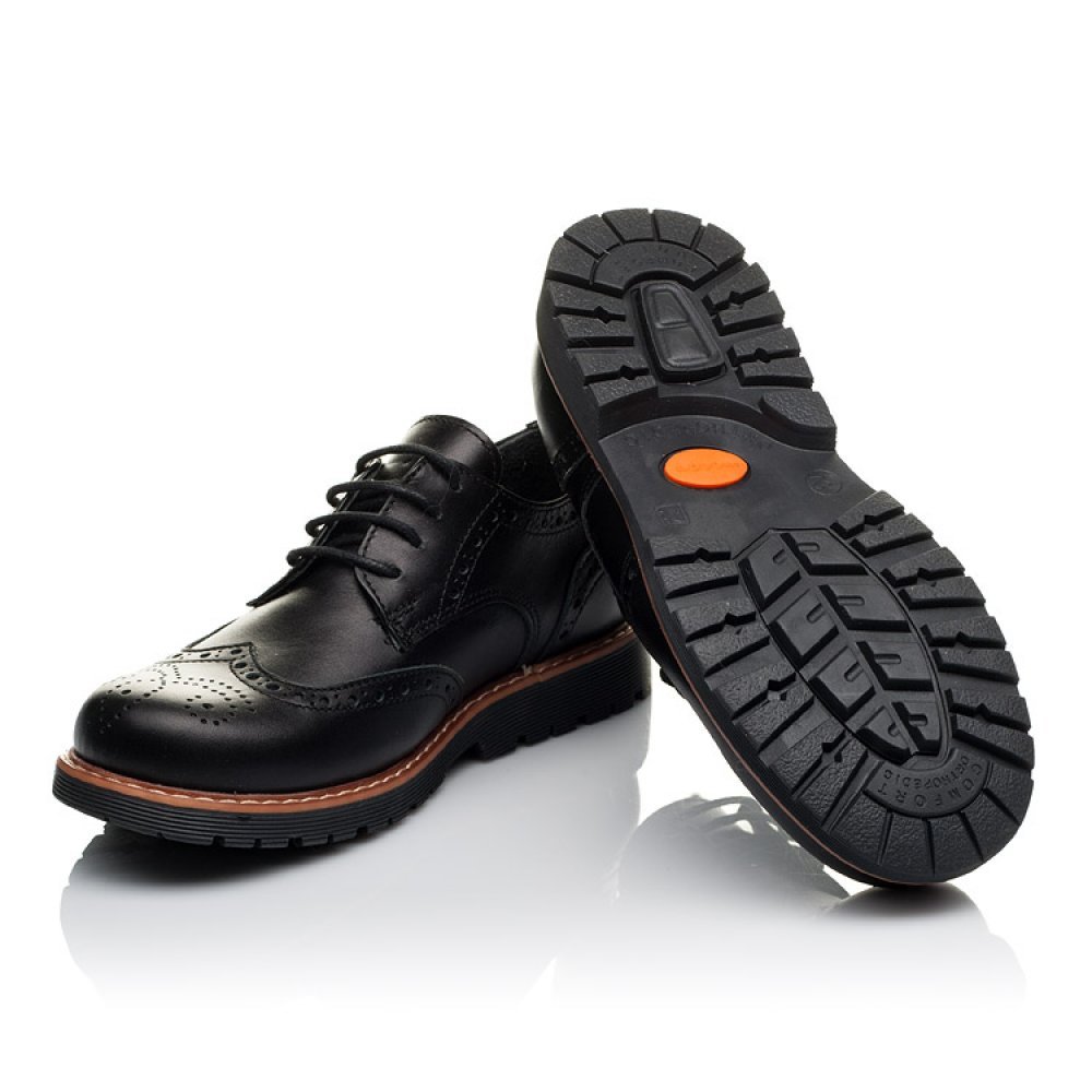 Детские туфлии (шнурок-резинка) Woopy Orthopedic черные для мальчиков натуральная кожа размер 32-37 (3633) Фото 2