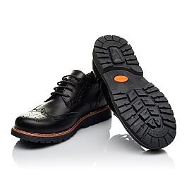 Детские туфлии (шнурок-резинка) Woopy Orthopedic черные для мальчиков натуральная кожа размер - (3633) Фото 2