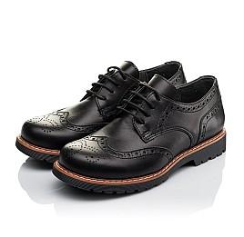 Детские туфлии (шнурок-резинка) Woopy Orthopedic черные для мальчиков натуральная кожа размер - (3633) Фото 3