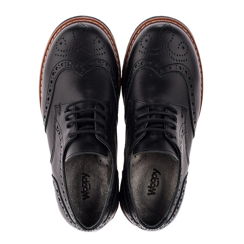 Детские туфлии (шнурок-резинка) Woopy Orthopedic черные для мальчиков натуральная кожа размер 32-37 (3633) Фото 5
