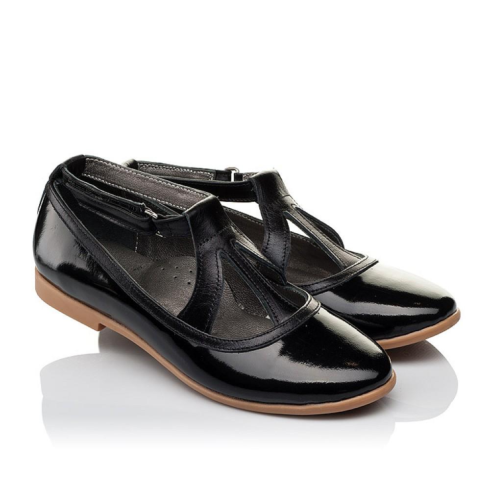 Детские туфли Woopy Orthopedic черные для девочек натуральная лаковая кожа размер 30-37 (3636) Фото 1