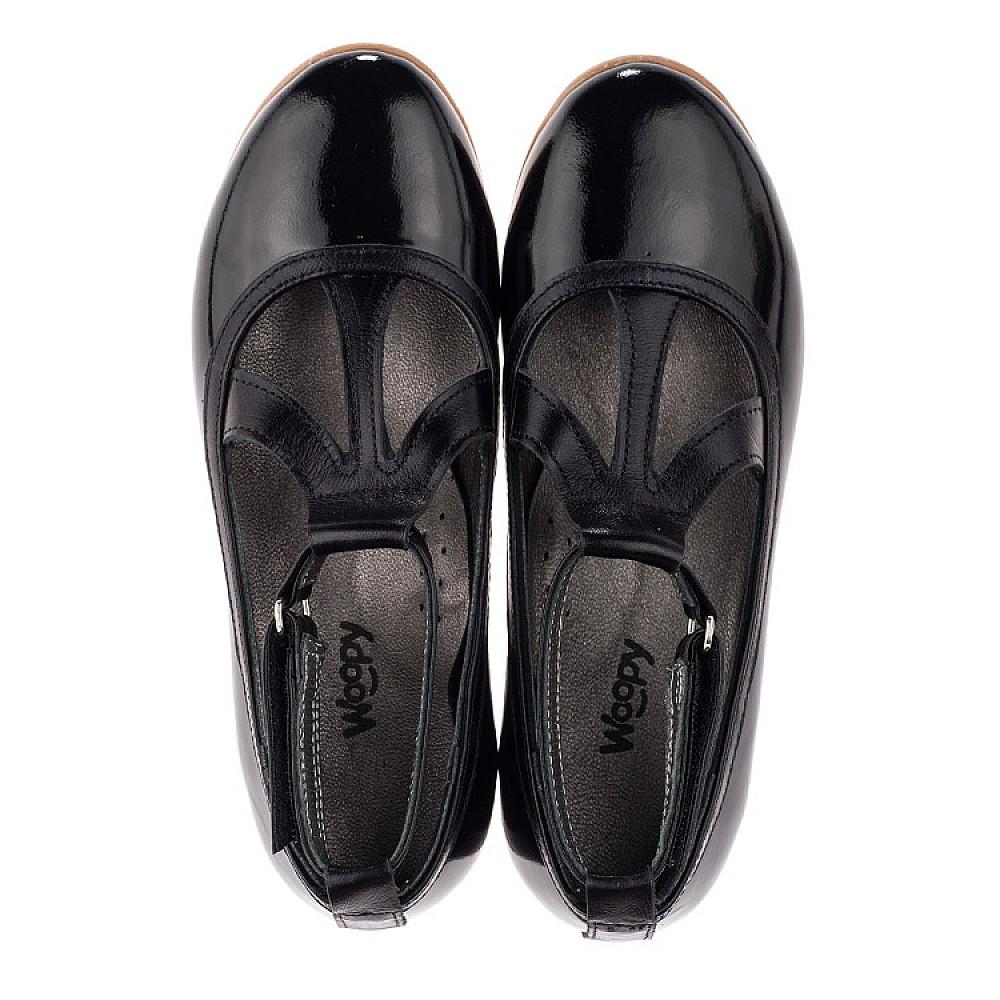 Детские туфли Woopy Orthopedic черные для девочек натуральная лаковая кожа размер 30-37 (3636) Фото 5