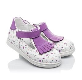 Детские туфли Woopy Orthopedic белые, фиолетовые для девочек  натуральная кожа размер 21-23 (3638) Фото 1