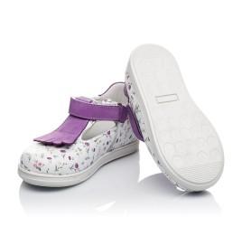 Детские туфли Woopy Orthopedic белые, фиолетовые для девочек  натуральная кожа размер 18-25 (3638) Фото 2