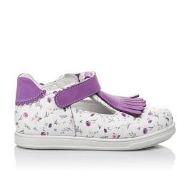 Детские туфли Woopy Orthopedic белые, фиолетовые для девочек  натуральная кожа размер 18-25 (3638) Фото 4