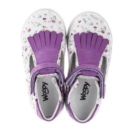 Детские туфли Woopy Orthopedic белые, фиолетовые для девочек  натуральная кожа размер 18-25 (3638) Фото 5