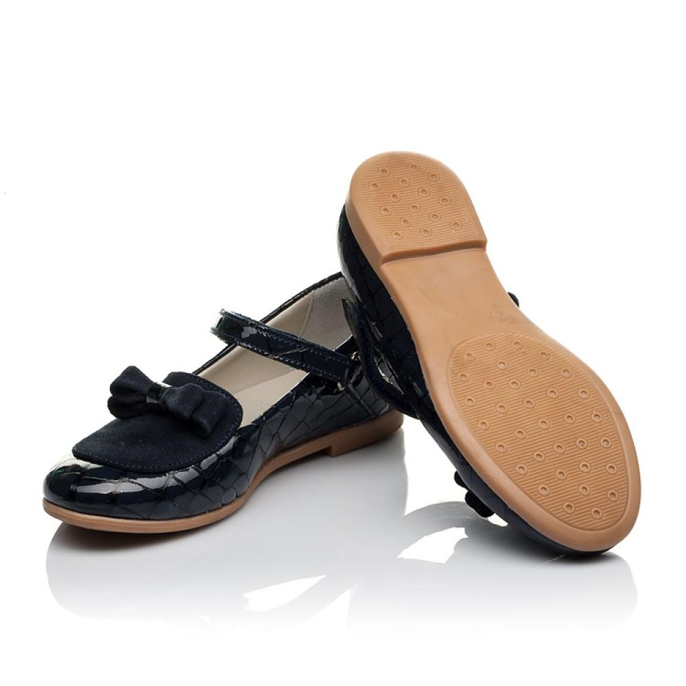 Детские туфли Woopy Orthopedic темно-синие для девочек натуральная лаковая кожа и нубук размер 29-36 (3640) Фото 2