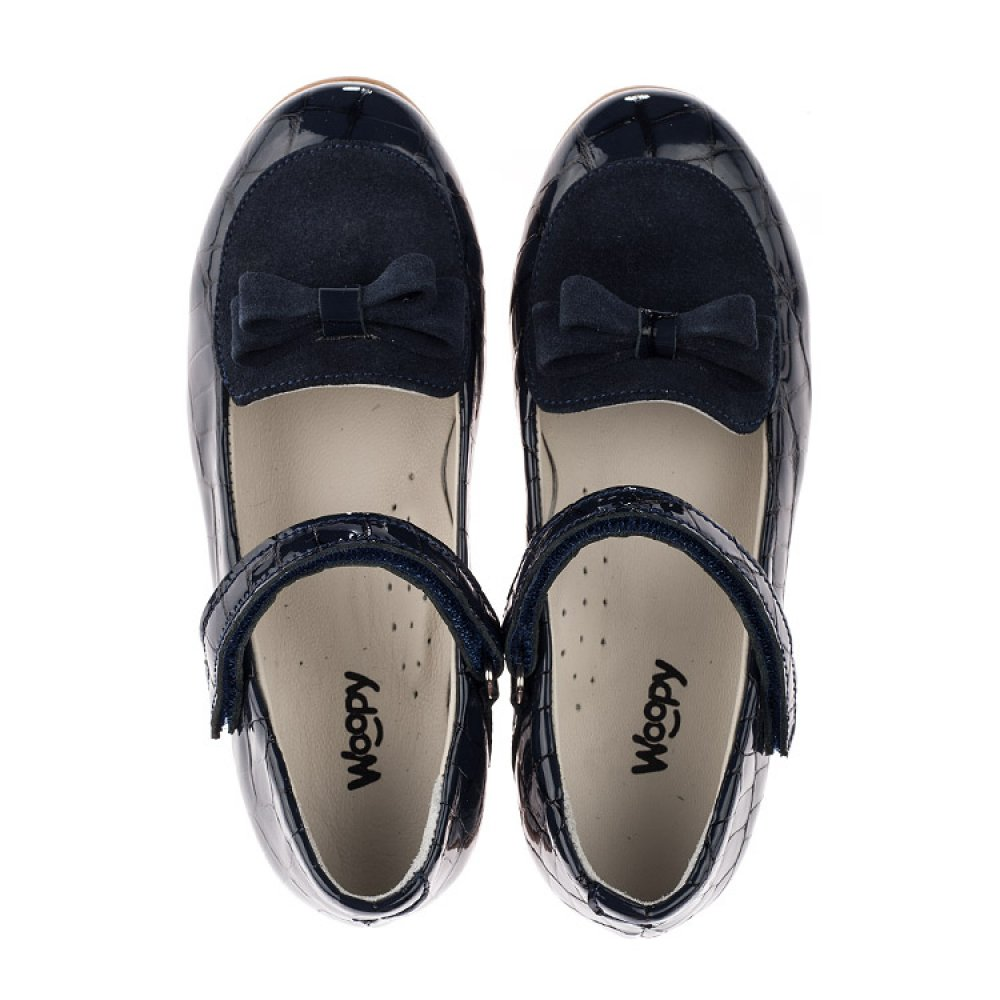 Детские туфли Woopy Orthopedic темно-синие для девочек натуральная лаковая кожа и нубук размер 29-36 (3640) Фото 5