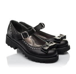 Детские туфли (застежка липучка) Woopy Orthopedic черные для девочек натуральная кожа размер 31-40 (3645) Фото 1