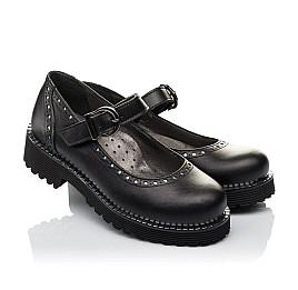 Детские туфли (застежка липучка) Woopy Orthopedic черные для девочек натуральная кожа размер 29-37 (3649) Фото 1