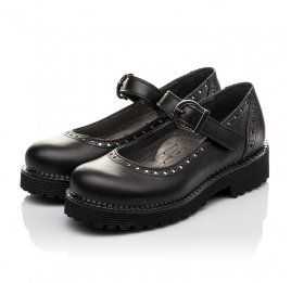 Детские туфли (застежка липучка) Woopy Orthopedic черные для девочек натуральная кожа размер 29-37 (3649) Фото 3