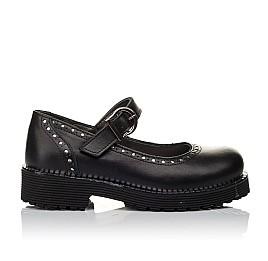 Детские туфли (застежка липучка) Woopy Orthopedic черные для девочек натуральная кожа размер 29-37 (3649) Фото 4