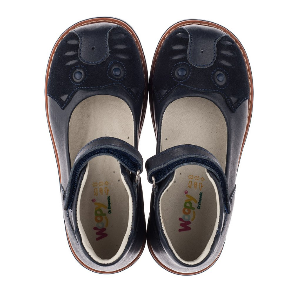 Детские туфли ортопедические Woopy Orthopedic синие для девочек натуральная кожа размер 28-33 (3653) Фото 5