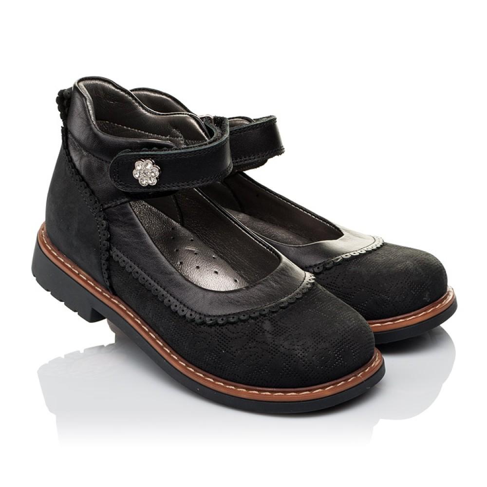 Детские туфли ортопедические Woopy Orthopedic черные для девочек натуральная кожа и нубук размер 29-36 (3654) Фото 1