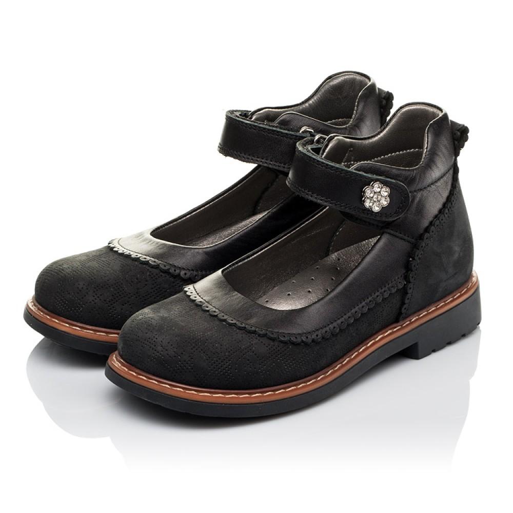 Детские туфли ортопедические Woopy Orthopedic черные для девочек натуральная кожа и нубук размер 29-36 (3654) Фото 3