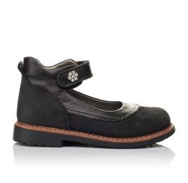 Детские туфли ортопедические Woopy Orthopedic черные для девочек натуральная кожа и нубук размер 29-36 (3654) Фото 4