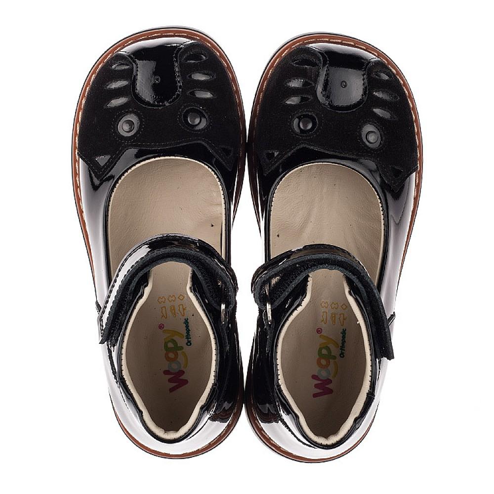 Детские туфли ортопедические Woopy Orthopedic черные для девочек натуральная лаковая кожа размер 28-34 (3657) Фото 5