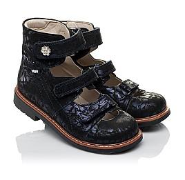 Детские ортопедические туфли (с высоким берцем) Woopy Orthopedic синие для девочек натуральный нубук размер 30-36 (3659) Фото 1
