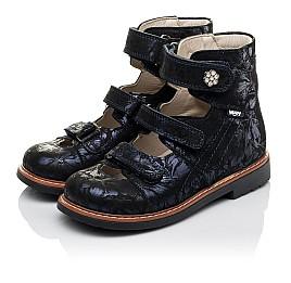 Детские ортопедические туфли (с высоким берцем) Woopy Orthopedic синие для девочек натуральный нубук размер 30-36 (3659) Фото 3